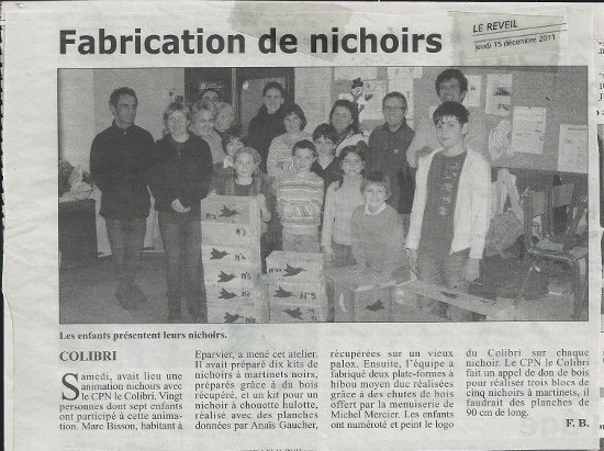 Fabrication de nichoirs