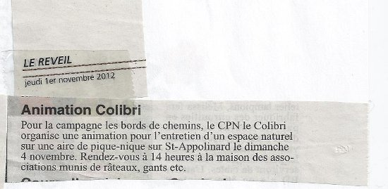 Animation Colibri les bords de chemins